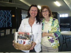 Gift Basket winner Marietta McLellan with suspense author Sandy Curtis