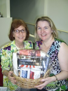 I like the mugs? Authors Sandy Curtis and Cheryse Durrant with the Clan Destine Press gift basket.